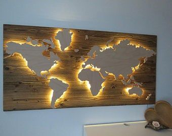 World Map Wooden Led Lighting 3d Effect In 2020 Old Wood Reclaimed Wood Wooden
