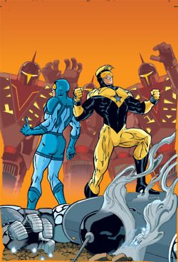 Kevin Maguire's Blue Beetle and Booster Gold