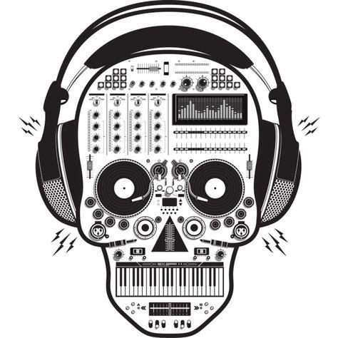 Skull DJ Baseball Tee Black and White Raglan