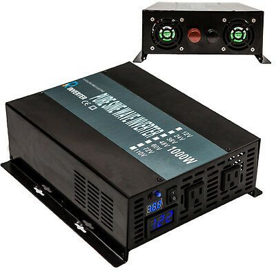 Ad Ebay Link Power Inverter 1000w 12v Dc To 120v Ac Pure Sine Wave Inverter Run A Fridge Led Solar Power Inverter Power Inverters Sine Wave