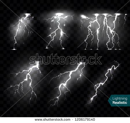 Stock Vector Realistic Lightning Bolts Flashes White Images
