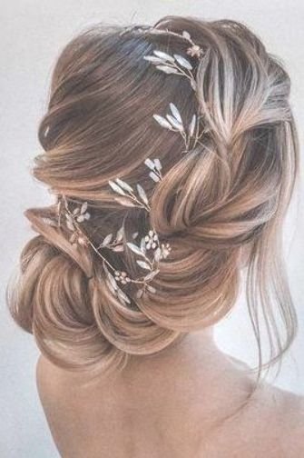 Wedding Hairstyles For Thin Hair Side Swept Low Airy Updo With Flower And Crystal Wedding Hair Inspiration Wedding Hairstyles For Long Hair Wedding Hair Pieces