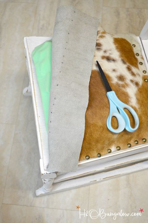 Tutorial and tips to make a DIY nailhead trimmed cowhide seat. Take an old wood seat on a bench or and transform it to an upscale and trendy cowhide piece of home decor. Depending on the piece you use it will look great in a farmhouse or modern home! Do It Yourself Furniture, Do It Yourself Home, Cute Dorm Rooms, Cool Rooms, Western Furniture, Diy Furniture, Quality Furniture, Modern Furniture, Cowhide Furniture