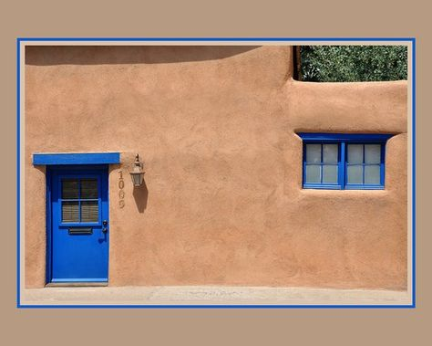 Southwest Photo Art Santa Fe Art Print Door Photography Window Photo Blue Door Blue Window Fram Santa Fe Decor Door Handle Design Southwestern Decorating