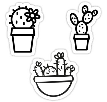 Cactus Cute Cacti Pattern Illustration Simple Tumblr Aesthetic Sticker By Vanessavolk Black And White Stickers Coloring Stickers Redbubble Stickers Black And White