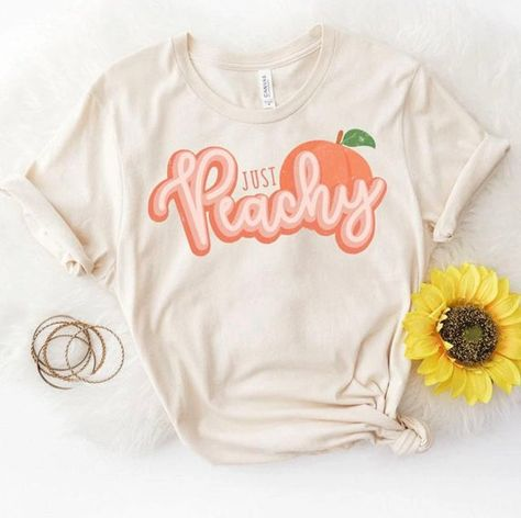 Just Peachy Shirt Retro Shirt Retro Vibe Shirt Peach Shirt Just Peachy Peach Shirt Retro Shirts Just Peachy