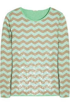 f676be64a8 J. Crew sequined chevron sweater in mint