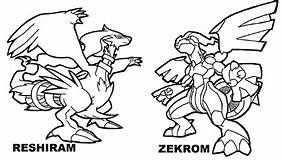 Pokemon Coloring Pages Of Zekrom And Reshiram Pics