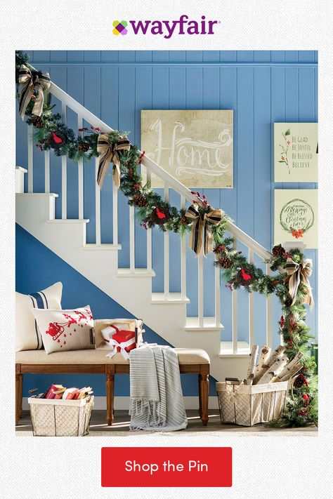 Find holly, jolly home decor for your foyer! Create a winter wonderland with pinecone garlands for the banister, festive pillows for the bench, and storage for presents. From the holidays to every day, find everything home with fast and FREE shipping at Wayfair.