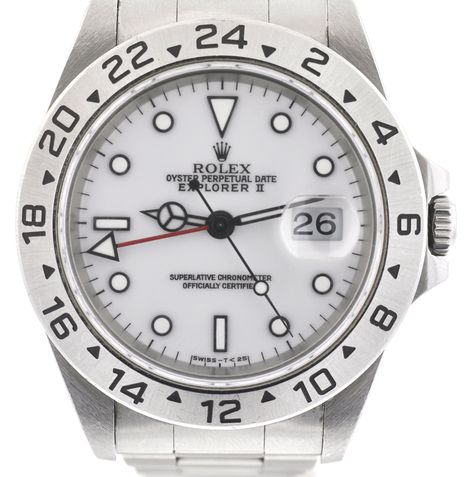 Rolex 16570 Explorer II White Dial Stainless Steel Watch