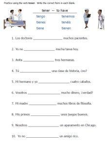 printable worksheet spanish verb tener conjugation sentences ...