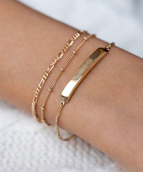 Classic Gold ID Bar Armband - Classic Gold ID Bar Armband - Edge of E . - Klassisches ID-Bar-Armband aus Gold – Klassisches ID-Bar-Armband aus Gold – Rand aus Glut – # -