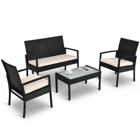 4 Pcs Outdoor Patio Furniture Set Table Chair Sofa Cushioned Seat