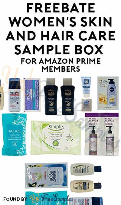 4 Profit Freebate Women S Skin And Hair Care Sample Box For Amazon Prime Members Yo Free Samples Women Skin Sample Box Hair Care