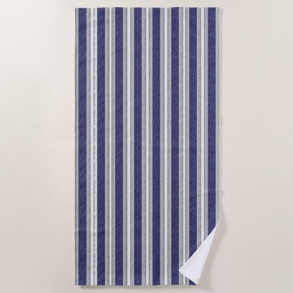 Blue Gray White Stripes Pattern Beach Towel Zazzle Com