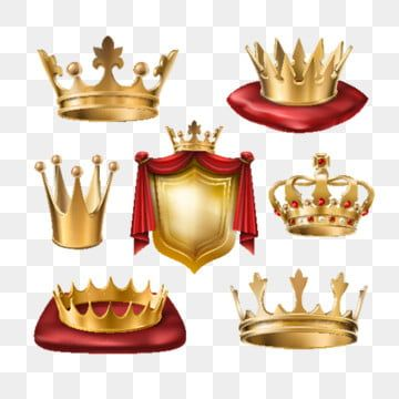 Set Of Vector S Of Royal Golden Crowns Of Various Kinds And Gold Golden Crown Png And Vector With Transparent Background For Free Download Golden Crown Vector Shield Vector