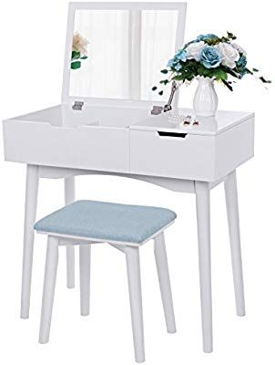 Super Amazon Com Bewishome Vanity Makeup Table Set Flip Top Ncnpc Chair Design For Home Ncnpcorg