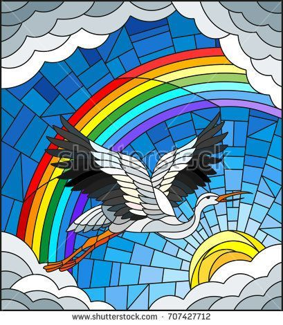 Illustration In Stained Glass Style Stork On The Background Of Sky