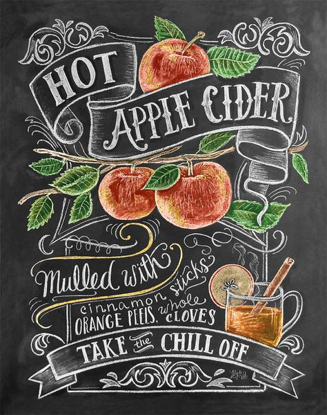 Fall Apple Cider Recipe Illustration Print Autumn от LilyandVal