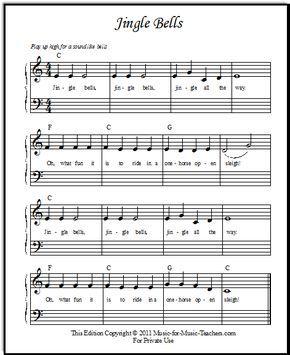 Jingle Bells Sheet Music For Beginner Piano Students Dengan Gambar
