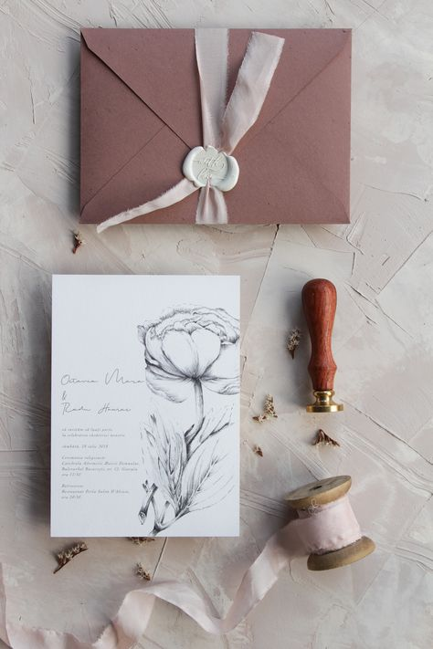 Rose wedding invitations, handmade envelopes with wax seal and plant dyed silk ribbon / © PAPIRA invitatii de nunta personalizate