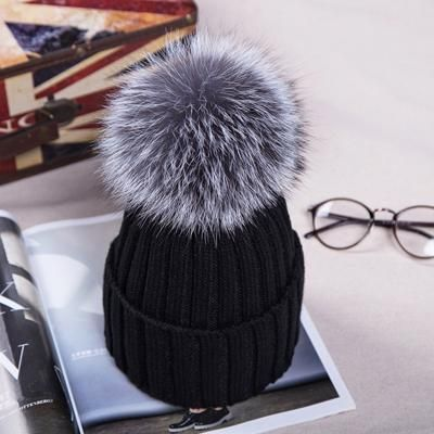 Women Winter Racoon Rabbit Fur Pom Pom 15cm Ball Knit Beanie Ski Cap Bobble Hat