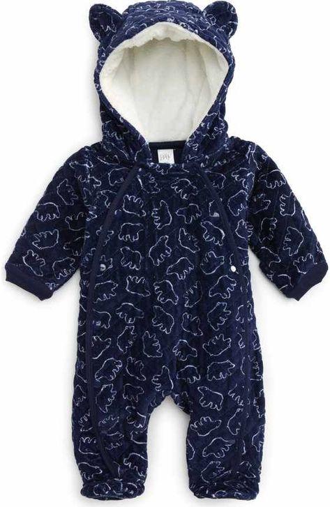 Boys Infant Fleece Eared Pram Bunting Bodysuit-NWT