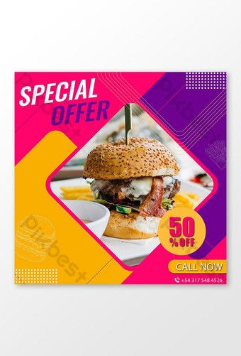 Fast Food Special Menu With Discount Instagram Banner Template Ai Free Download Pikbest In 2020 Instagram Banner Facebook Post Design Banner Template