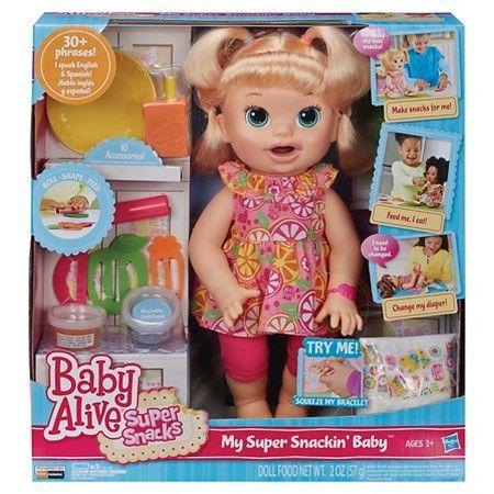 Baby Alive Super Snacks Snackin Sara Blonde Spanishdolls In 2020 Baby Alive Dolls New Baby Products