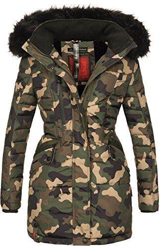 Navahoo Damen Winter Jacke Mantel Parka Warm Gefutterte Winterjacke B379 M Camouflage Army Winterjacke Damen Winterjacken Jacken