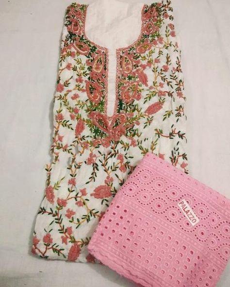 Kashmiri Kurti Plazzo Light Pink Print In 2020 Pink Print Light Pink Clothes For Women