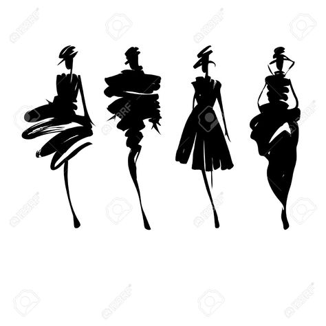 Fashion models hand drawn silhouettes Stock Vector - 38973881