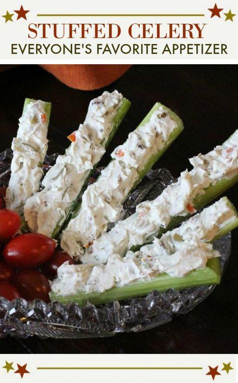 Perfect stuffed celery appetizer recipe. Celery is the perfect vessel for a mixture of cream cheese and chopped olives. Throw in some crunchy walnuts and blue cheese and you've got an appetizer full of memories. A popular appetizer for any party or holiday buffet. #stuffed #withcreamcheese #party #appetizers #recipes #appetizerrecipes