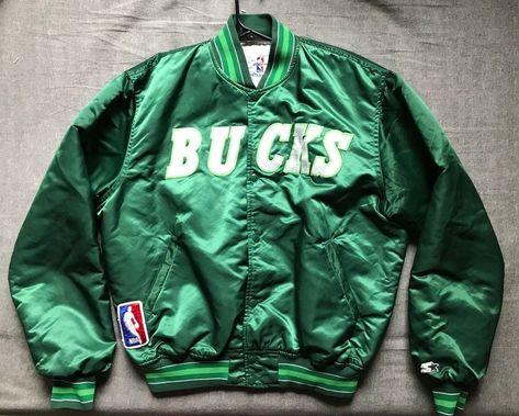 51ef500f93f Men s vintage Starter NBA Milwaukee Bucks satin jacket size XL ...