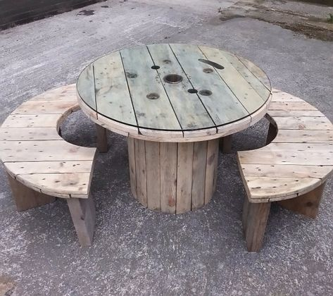 Unique Upcycled Industrial Dining Table & Bench Set by GrannyPlum