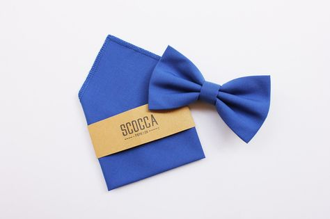 Papillon e fazzoletto,blu cobalto,uomo,matrimonio di Scocca Papillon su DaWanda.com