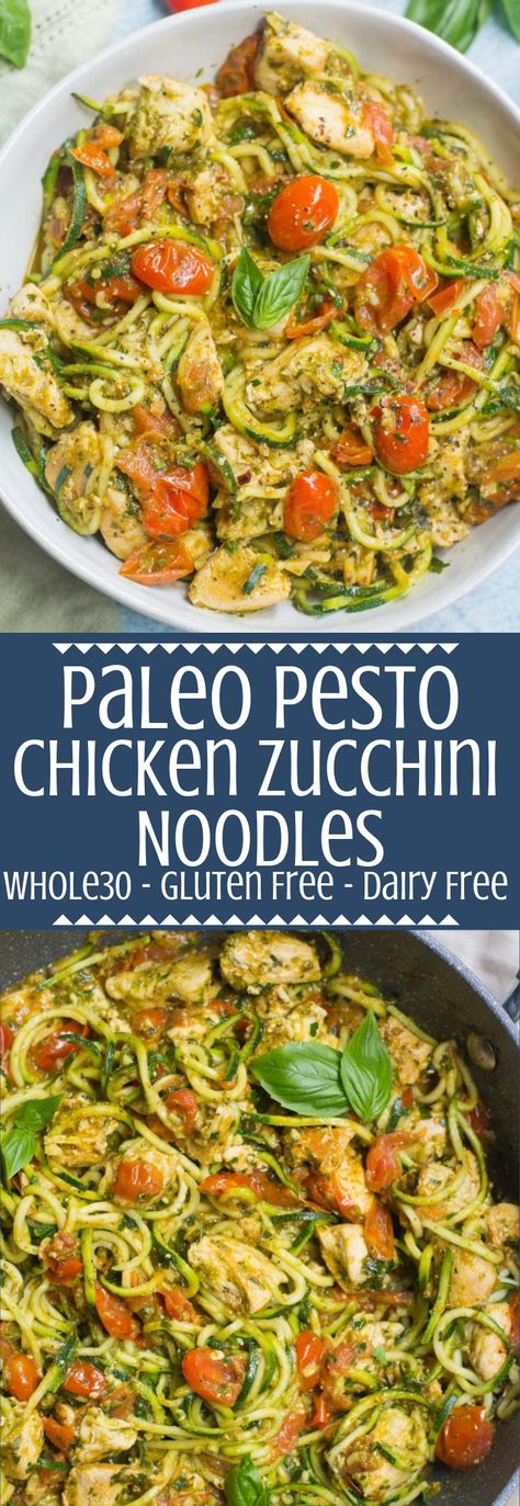 Pesto Chicken Zucchini Noodles are a delicious, simple dinner. Paleo and… Pesto Chicken Zucchini Noodles are a delicious, simple dinner. Paleo and gluten free, this easy dinner comes together in under 30 minutes! Chicken Zucchini, Pesto Chicken, Chicken Noodles, Zucchini Pasta, Chicken Zuchini Recipes, Zucchini Noodles With Pesto, Bruschetta Chicken, Diced Chicken, Egg Noodles
