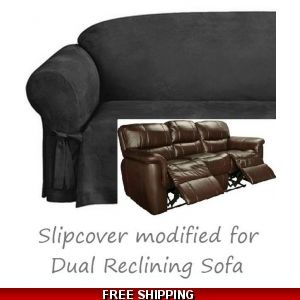 Incredible Dual Reclining Sofa Slipcover Suede Chocolate Sure Fit Machost Co Dining Chair Design Ideas Machostcouk
