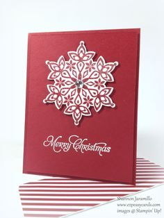 handmade Christmas card ... Festive Christmas from EZPeasyCards .... clean and simple ... red and white ... die cut snowflake popped up on a onel=layer card ... luv it!