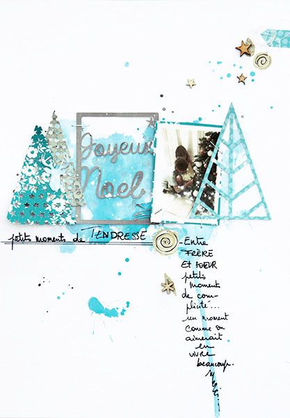 loyeux noël by cat123 at @Studio_Calico Beautiful color scheme, and I love how her journaling follows the line of color!