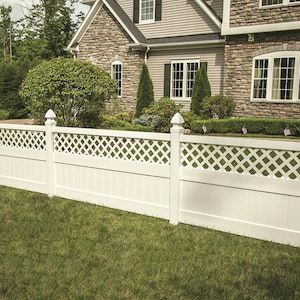 Freedom Ready To Assemble Conway 4 Ft H X 8 Ft W White Vinyl Lattice Top Fence Panel Lowes Com In 2020 Fence With Lattice Top Vinyl Fence Panels White Vinyl Fence