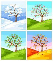 Vier Jahreszeiten Illustration Von Baum Und Landschaft Im Winter Fruhling Jahreszeiten Baumkunst Baumbilder