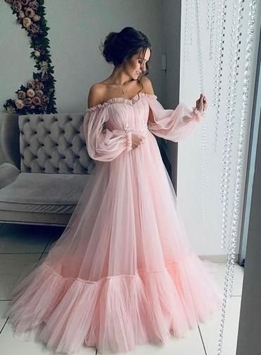 Pink Tulle Off Shoulder Puffy Sleeves Long Prom Dress Hot Evening Dresses G5265 Prom Prom Dresses Long With Sleeves Prom Dresses With Sleeves Prom Dresses Long