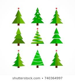 Christmas Tree Background Set Icon Design Cartoon Green Isolated On White Christmas Tree Design Christmas Tree Clipart Christmas Tree Set