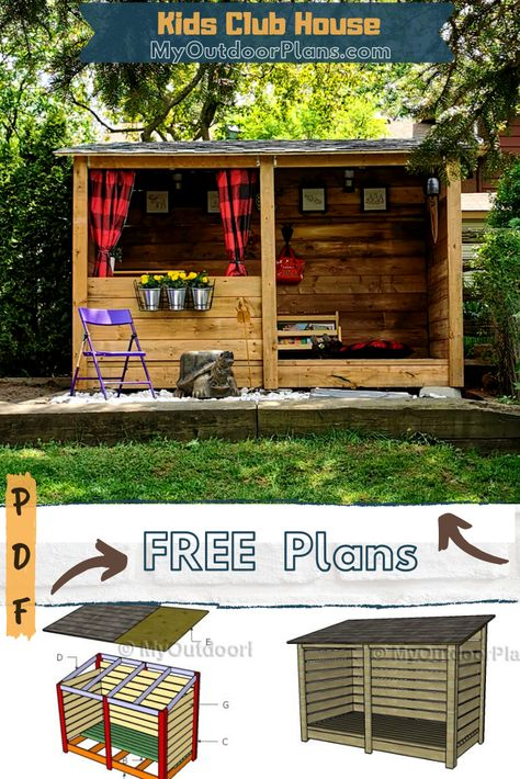 Backyard Playground, Backyard For Kids, Cubby Houses, Play Houses, Woodworking Projects Diy, Woodworking Plans, Kids Shed, Casas Club, Kids Clubhouse