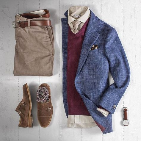 Yesterdays clothes minus me. Pants: Belt: Brown CXL Blazer: Sweater Knit Tie Pocket Square: Shirt: Watch: Shoes: Socks: Outfit by matthewgraber Mode Outfits, Casual Outfits, Men Casual, Fashion Outfits, Mens Fashion, Smart Casual, Daily Fashion, Casual Shoes, Mode Hipster