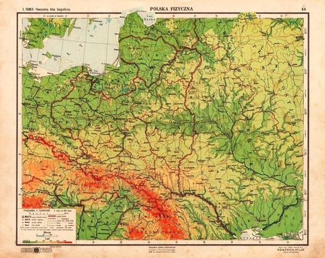 Eastern Europe Physical Map 1938 Mapa Europa Polska