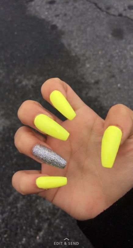 Nails Acrylic Yellow Black Girl 15 Ideas nails in 2019