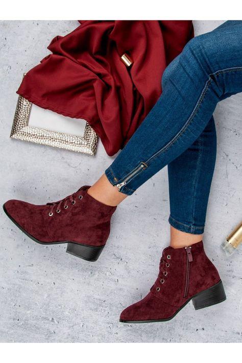 Bordové topánky pre ženy členkové čižmy CnB  c42401324f7