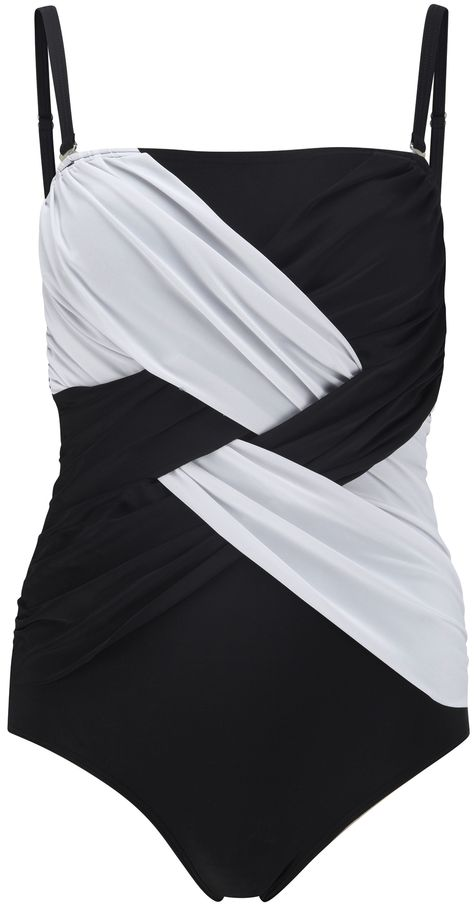 PLUS SIZE - FIND SWIMSUIT - Click thru to article. Look in comment section at bottom of page. cool monochrome swimsuit to make you look awesome - it's like an optical illusion http://www.boomerinas.com/2013/03/17/take-your-trend-to-the-beach-swimsuits-follow-fashion/